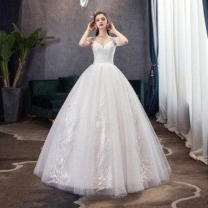 Image 2 - קלאסי שמפניה פשוט יוקרה 2021 חדש חתונת שמלה סקסי אשליה תחרה רקמה בתוספת גודל הכלה שמלת Robe דה Mariee L