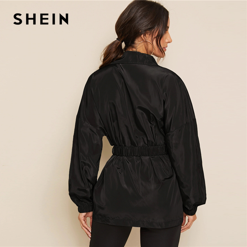 SHEIN Black Zip Up Pocket Patched Jacket With Push Buckle Belt Women Autumn Solid Windbreaker Casual Sporting Outwear Jackets 2