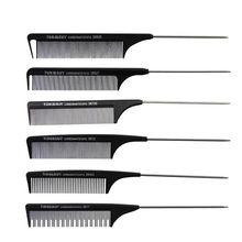 Peigne de coupe en carbone dur noir, 1 pièce, résistant à la chaleur, brosse de Salon de coiffure, queue de broche en métal, peigne antistatique, pas de soins pour bébé, enfants