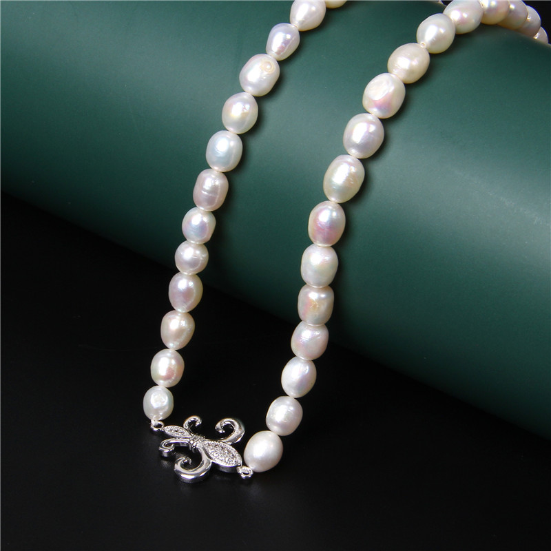 Natural White Pearl Necklaces Micro Inlay Pendant Necklace Chains Baroque Pearls Beaded Collar for Women Jewelry Chokers Gifts