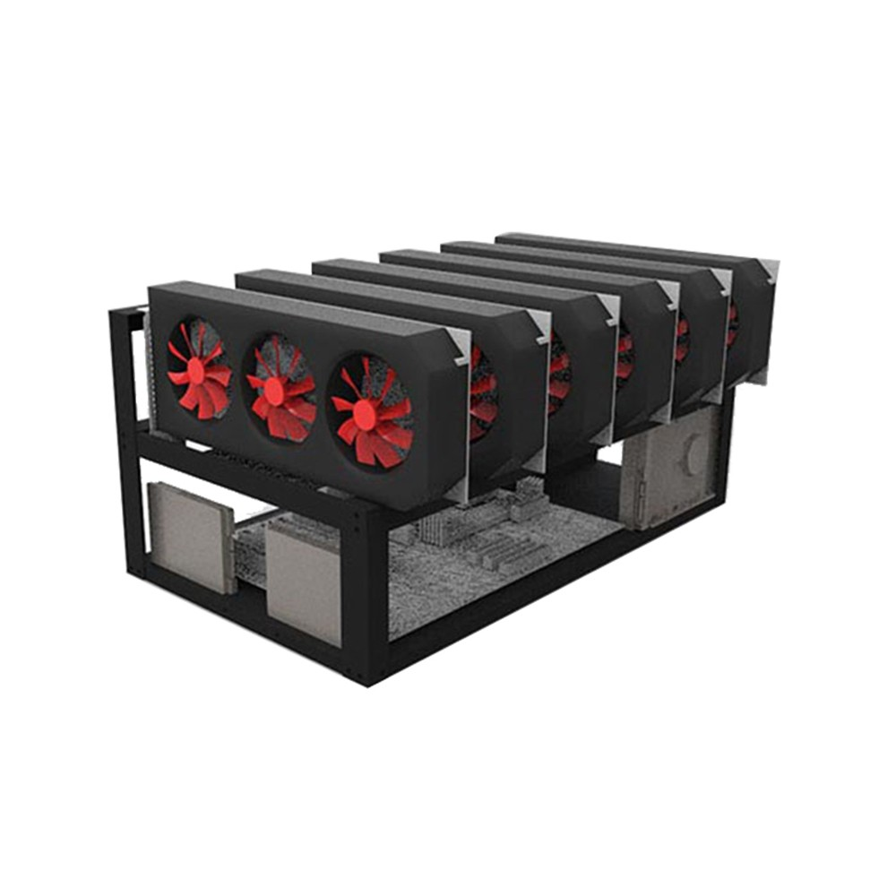 sbay Steel Open Air Miner Rig Case Up to 6 GPU for Crypto Coin Currency Mining