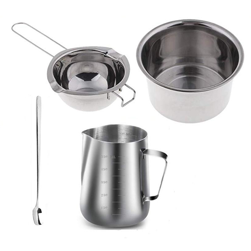 BMBY-4 Set Stainless Steel Double Boiler Long Handle Wax Melting Pot, Pitcher & Mixing Spoon Candle Soap Making, DIY Scented Can