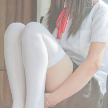 Mulheres japonesas lolita branco meias longas femininas kawaii sólido de alta qualidade meias meninas harajuku faculdade alta sobre o joelho meias