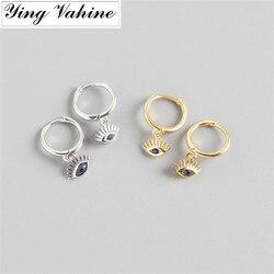 Ying vahine 100% 925 prata esterlina azul olhos pingente brincos para mulher
