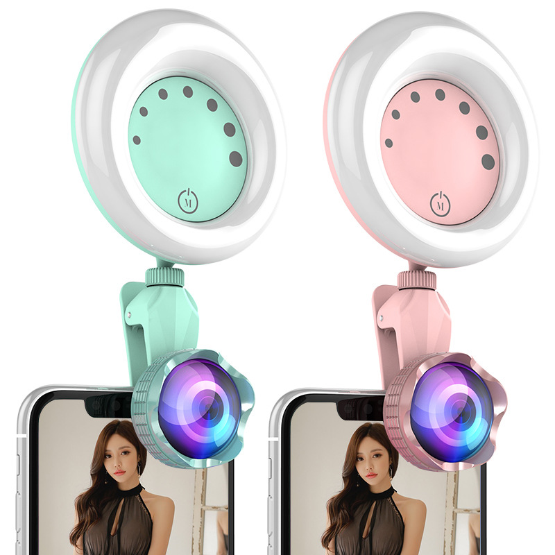 Flexible Phone Selfie Light Portable Enhancing LED Fill Light Clip-On Ring Selfie Light With Mirror High Diffusion Anti-Scratch