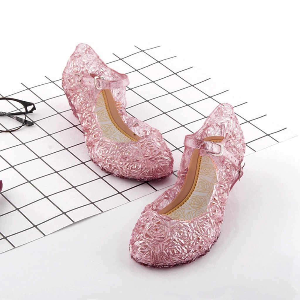 Prenses cadılar bayramı ayakkabı prenses kristal kostüm ayakkabı bebek kız Cosplay kostüm sandalet parti prenses bebek ayakkabı kızlar için