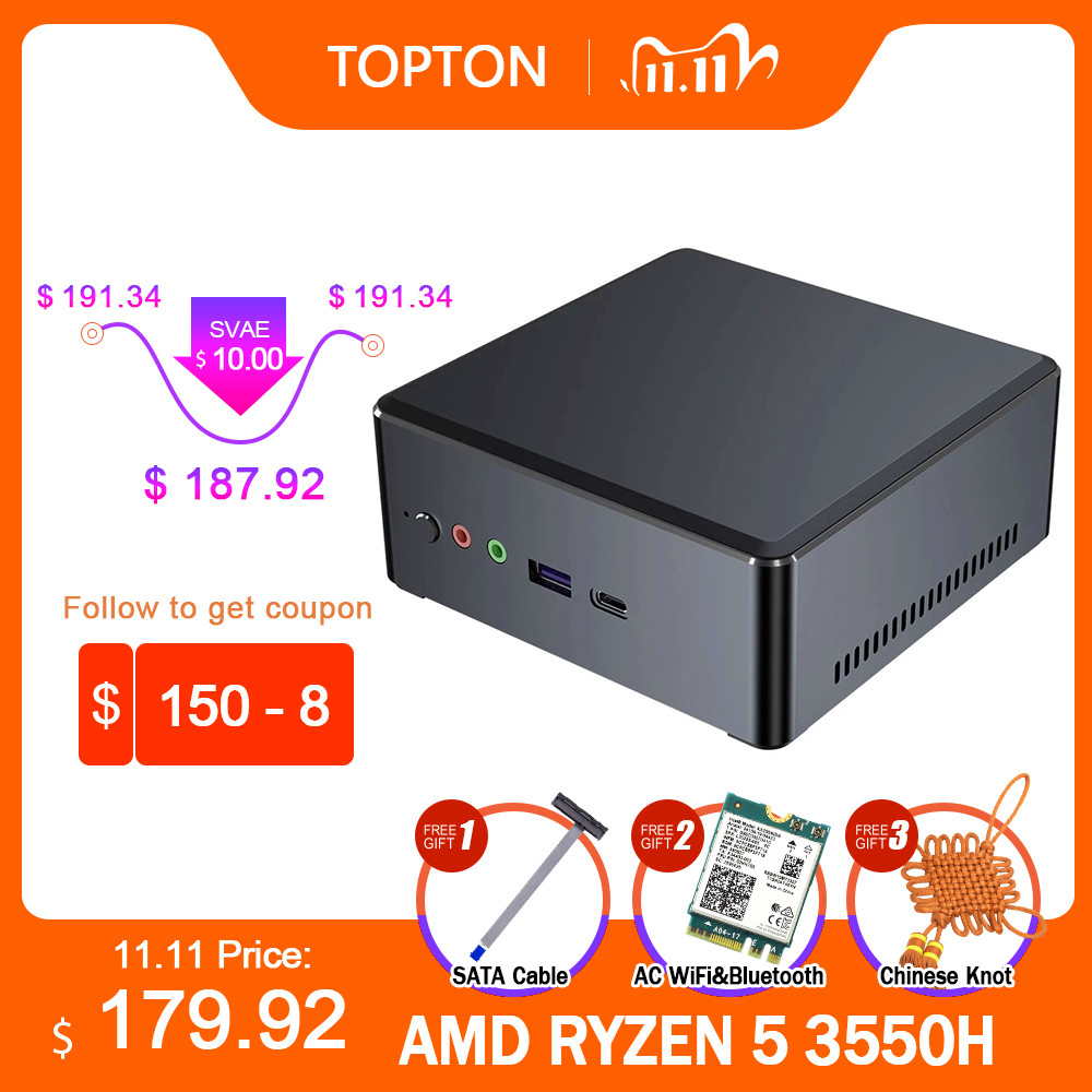 TOPTON мини-ПК AMD Ryzen R7 2700U R5 3550H Vega Graphic 2 * DDR4 M.2 NVMe игровой компьютер Windows 10 4K HTPC HDMI2.0 DP AC WiFi