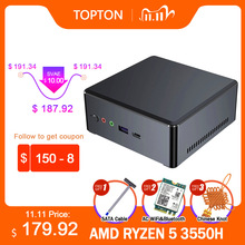 TOPTON-Mini PC Gaming Windows 10 AMD Ryzen R7 2700U R5 3550H, 2x DDR4, ordinateur de salon, 4K, HTPC, hdmi 2.0, DP, wi-fi AC, M.2 NVMe