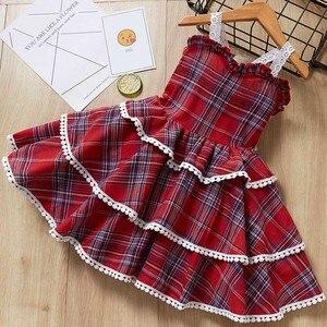 Menina em camadas vestido 2020 nova moda meninas roupas de festa europa e americano vestidos de bebê vestido de princesa crianças vestido de aniversário