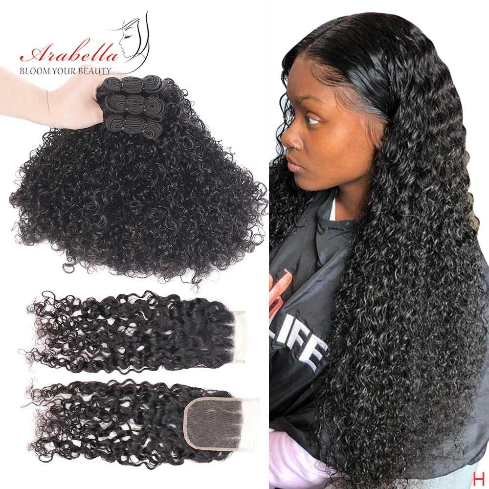 Kıvırcık demetleri ile kapatma brezilyalı Remy saç doğal renk 100% insan saçı örgüsü demetleri ile dantel kapatma Arabella saç