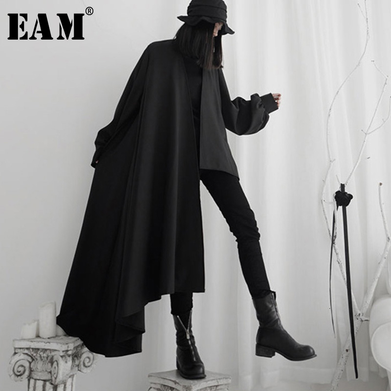 [EAM] Women Black Asymmetrical Big Size Trench New Lapel Long Sleeve Loose Fit Windbreaker Fashion Spring Autumn 2020 19A-a556