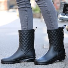 2019 Summer Women Rain Boots Socks Rubber Women Mid calf Boots Waterproof Comfort Casual Martin Boots rain(China)