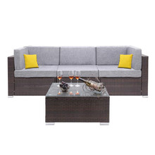 Oshion 4 Pieces Outdoor Patio PE Wicker Rattan Corner Sofa Set  Included Tea Table