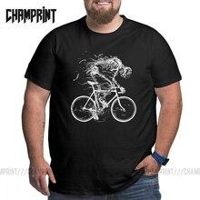 Skeleton Skull Cycle T-Shirt for Men Plus Size Cotton Tees Large Big Size Short Sleeve T Shirts Classic Clothing 4XL 5XL 6XL