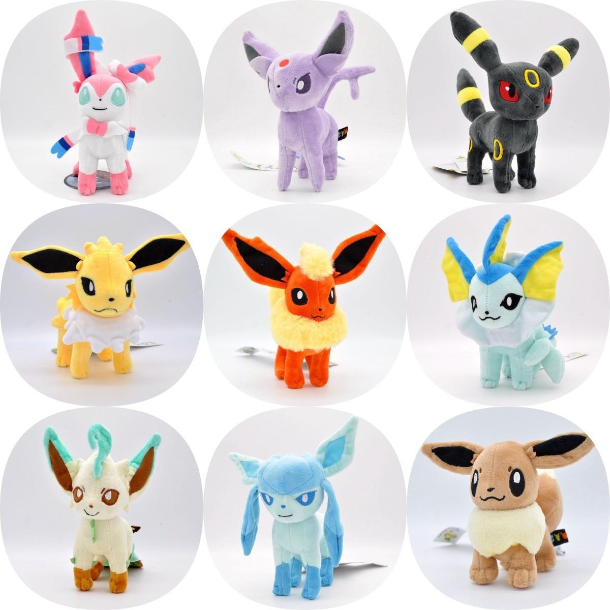 Pokemon Plush 23cm Eevee Sylveon Umbreon Vaporeon Glaceon Espeon Soft Stuffed Doll