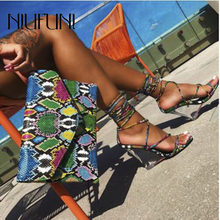Sexy Ankle Strap Snake Pattern Crystal Women's Sandals Slippers 2020 Wedge Heel Shoes Slides High Heels Women Plus Size 41