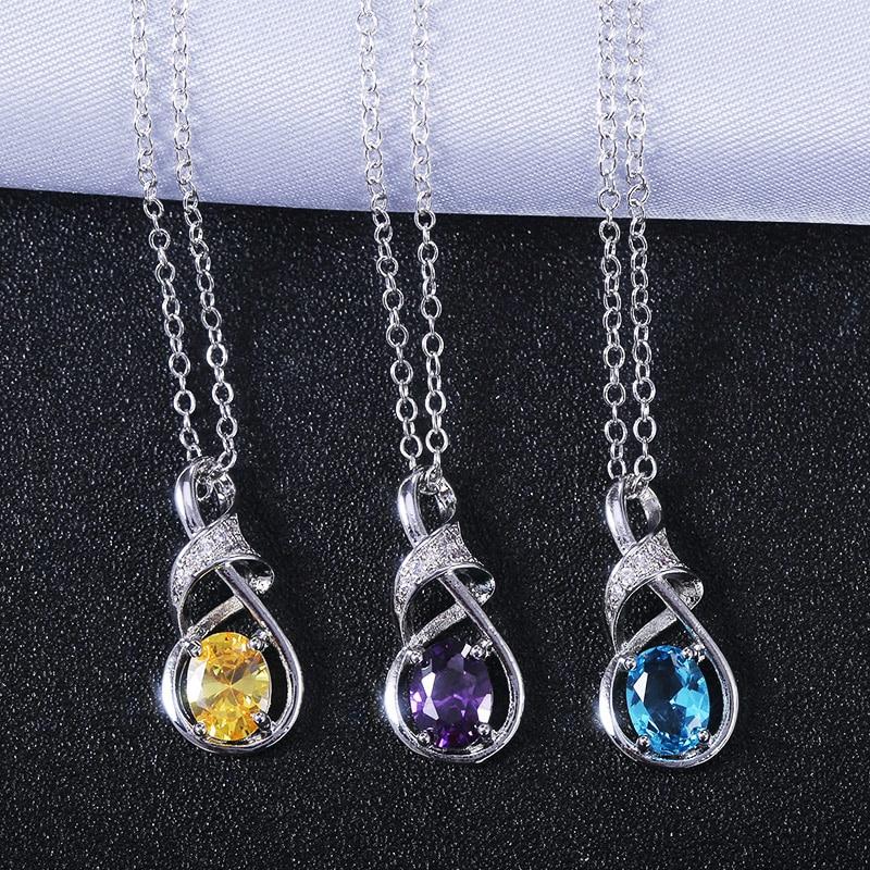 Huitan Purple/Blue/Yellow Stone Figure 8 Shape Pendent Necklace Noble Women Party Accessories Cocktail Dress A Fashion Item
