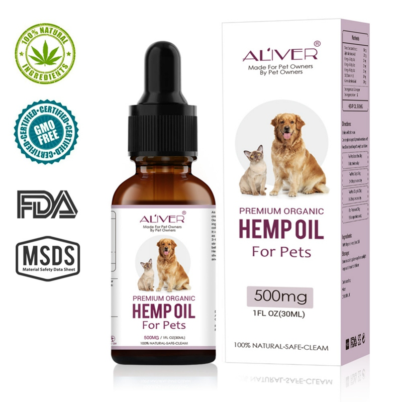 30ml Arganic Pet Hemp Seed Oil for dogs Natural Herbs of Pet Care Oil Anxiety Relief Pain Joint hip Strengtheens immunity New image