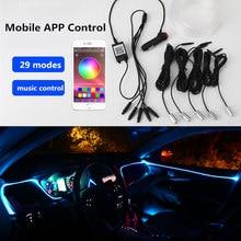 Tira de luces LED de neón para Interior de coche, luz de ambiente con sonido activo, RGB, Multicolor, Bluetooth, Control por teléfono, 12V, 6 en 1