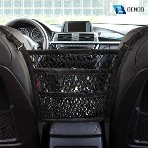 Image 1 - Benoo 2 camada 3 camada de malha do carro organizador assento de volta saco de rede barreira de banco de trás pet crianças carga tecido bolsa titular motorista armazenamento