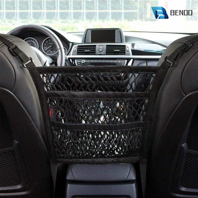 Benoo 2 camada 3 camada de malha do carro organizador assento de volta saco de rede barreira de banco de trás pet crianças carga tecido bolsa titular motorista armazenamento