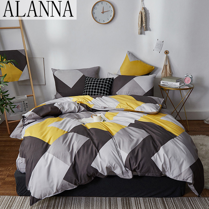 Alanna HD-ALL Fashion Bedding Set Pure Cotton A/B Double-sided Pattern Simplicity Bed Sheet, Quilt Cover Pillowcase 4-7pcs