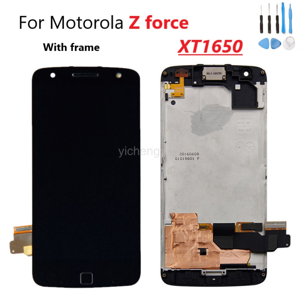 With Shadow Original For Motorola Moto Z Force Droid XT1650 AMOLED LCD Display Touch Screen Digitizer Frame Replacement