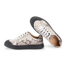 การออกแบบที่ไม่ซ้ำกันแท้ Python หนังผู้ชายสบายๆรองเท้าผ้าใบแบนรองเท้า Exotic ของแท้ Snakeskin ชาย LACE up Vulcanized รองเท้า