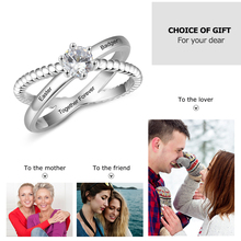 Strollgirl new Personalized 925 Sterling Silver Custom Name With Birthstone Ring DIY Design Engagement Ring Valentine's Day Gift 925 sterling silver ring for women custom mother ring personalized birthstone ring anniversary gift fine jewelry lam hub fong