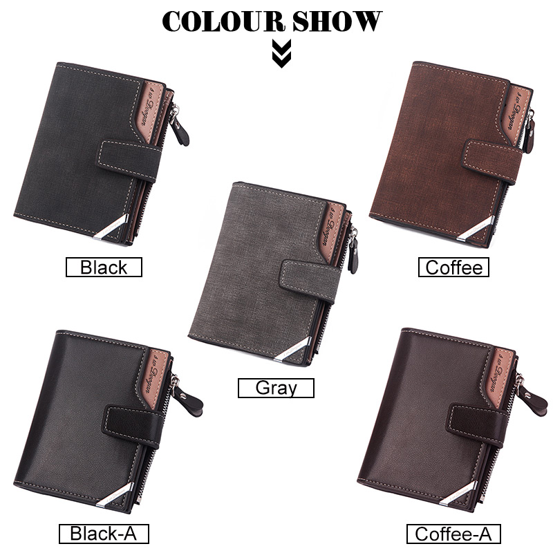 Hc95225b71d3a4ab2ba47fb3a42251b0dx - New Business men's wallet Short vertical Male Coin Purse casual multi-function card Holders bag zipper buckle triangle folding