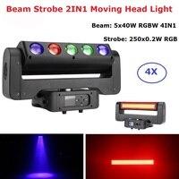4 pçs/lote 4IN1 5X40W RGBW + 250X0.2W RGB Luz Estroboscópica 5 Olhos Lados Dobro CONDUZIU a Luz Em Movimento Da Cabeça DMX 512 Stage Efeito de Iluminação Dj|Efeito de Iluminação de palco| |  -