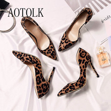 Women Pumps High Heels Shoes Sexy Leopard Print Thin Heels Spring Woman Wedding Shoes Plus Size Pointed Toe Single Female Pumps cheap AOTOLK Basic Flock Super High (8cm-up) Fits true to size take your normal size Office Lady Shallow Office Career Spring Autumn