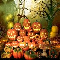 Lámpara de luz Led de calabaza para decoración de Halloween, accesorios para el hogar, escenario al aire libre, calado, luminoso, calabaza grande, Horror