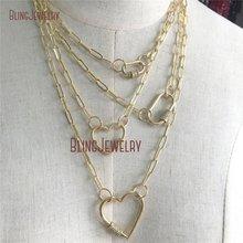 Золотое ожерелье-чокер, золотое ожерелье с овальной застежкой в форме сердца, CZ ожерелье с винтовой застежкой NM28172