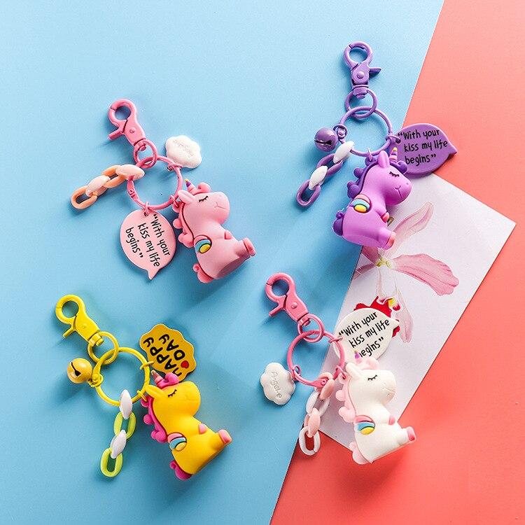 Cute Unicorn Silicone Keychain For Women Man Key Cover Key Caps Key Ring Key Holder Kids Gift Key chains Decoration Accesorries