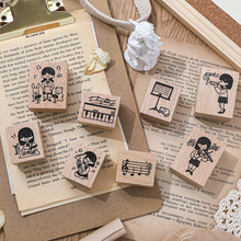Sound of Music Series Kawaii Girl Decoration Stamp Wooden Rubber Stamps for Scrapbooking Stationery DIY Craft Standard Stamp