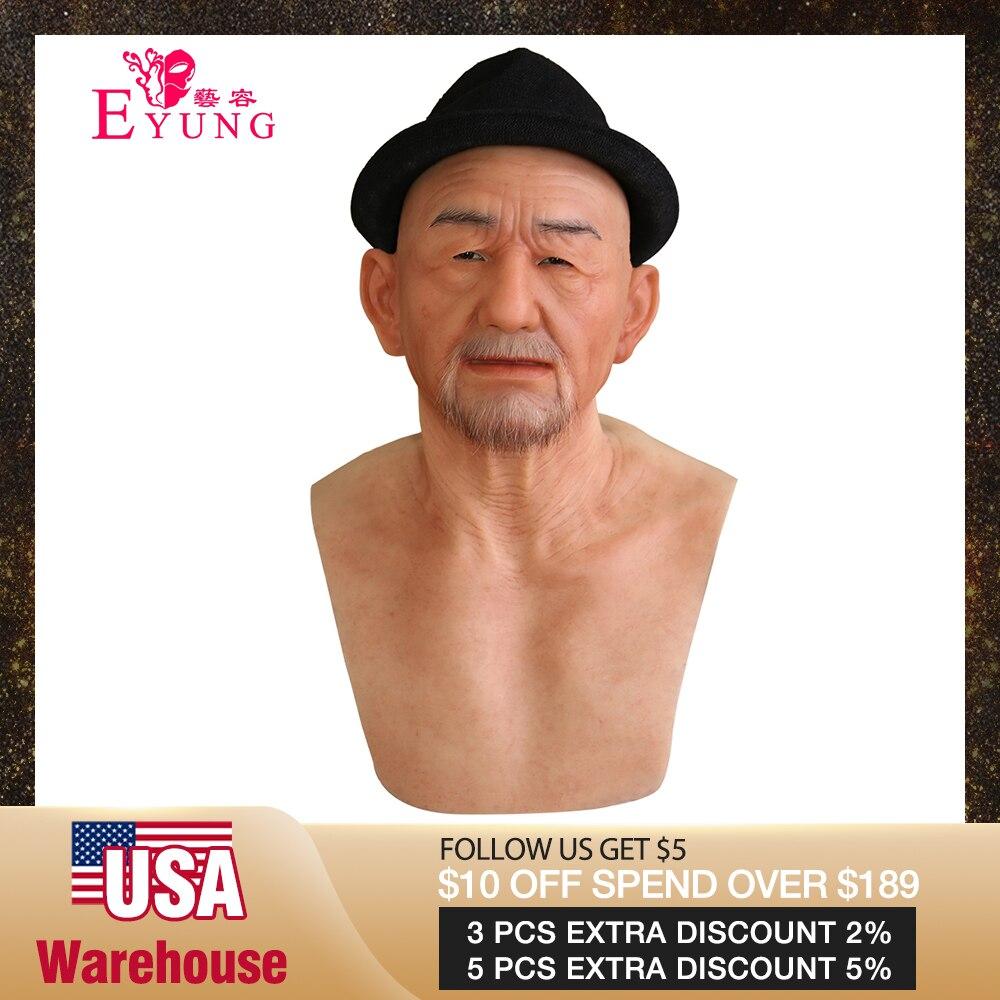 Máscaras de silicona realistas de buena calidad EYUNG Old William, mascarada de viejo para el Día de los inocentes