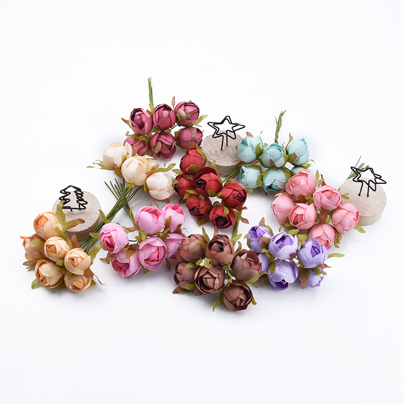 6pcs Roses Cheap Artificial Flowers For Wedding And Christmas Decorations 2