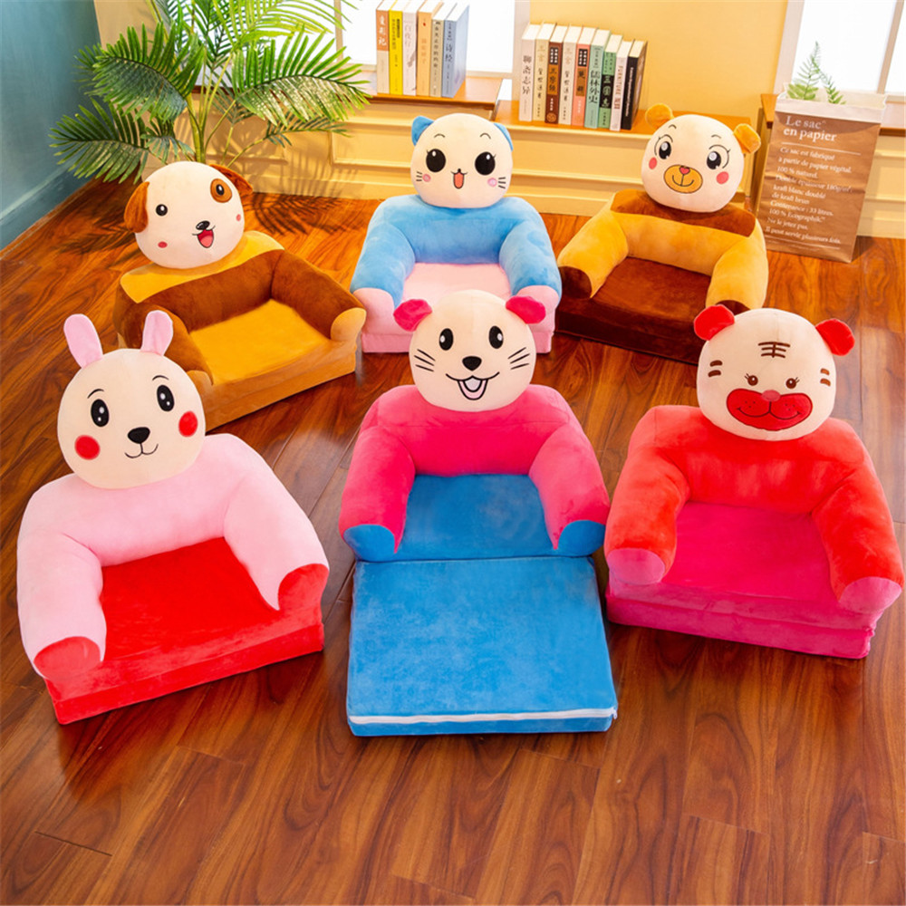 No Filling Small Sofa Cover Kid Furniture Children Cartoon Princess Girl Baby Folding Seat Recliner Boy Single Lazy Sofa Bed