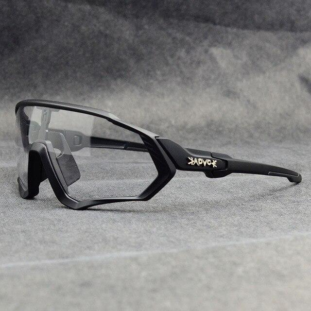 Novo estilo photochromic óculos de sol ciclismo das mulheres dos homens esporte estrada mtb mountain bike óculos de sol 1 lente 4