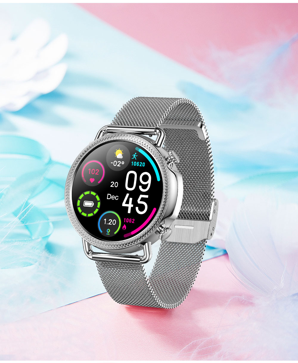 Hc95306639fc74a80bcfae5a8519752f3q 2021 Women Smart Watch 1.28 inch HD Screen IP67 Waterproof Lady's Watches Body Temperature Heart Rate Monitor PK V23