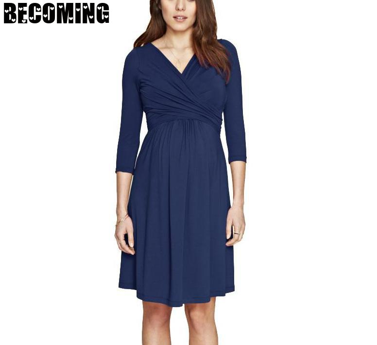 Pregnant Women Dress Plus Size Maternity Nursing Dress Pregnant Women's V-neck Mid Sleeve Breastfeeding Dress 1701659