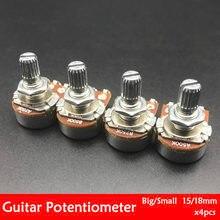 4 шт., потенциометры для электрогитары с валом 15/18 мм
