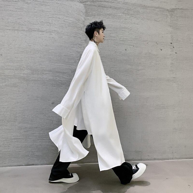 Men 2 Pieces Splice Casual Long Sleeve Shirts Male Streetwear Long Style Fashion Loose Dress Shirts Black White
