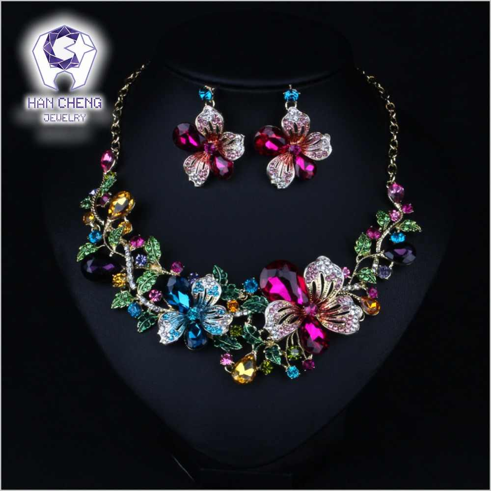 HanCheng Fashion Bauhinia Flowers Golden Metal Rhinestone Created Crystal Statement Maxi Choker Necklace Women Jewelry collier