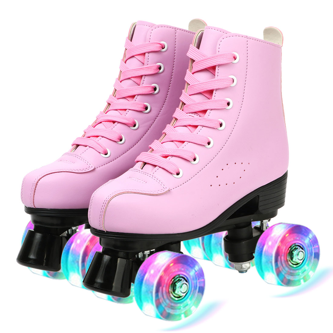 [Disc 40%] Pink Blue White Roller Skates Adult PU Leather Double Line Two Line Skating Shoes With PU Flashing Wheel Quad Skates Good Patine