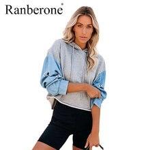 Модные толстовки ranberone свитшоты женский джинсовый свитшот