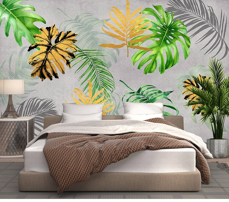 Custom Mural Modern Tropical Plants Abstract Green Leaf 3D Photo Wallpaper  (1 ㎡)