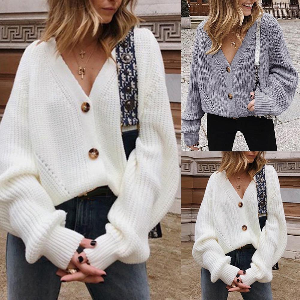 Chic Women Open Front Buttons Cardigan Long Sleeve Solid Color Knitted Sweate Puff Sleeve Deep V Neck Buttons Design Sweater Jum