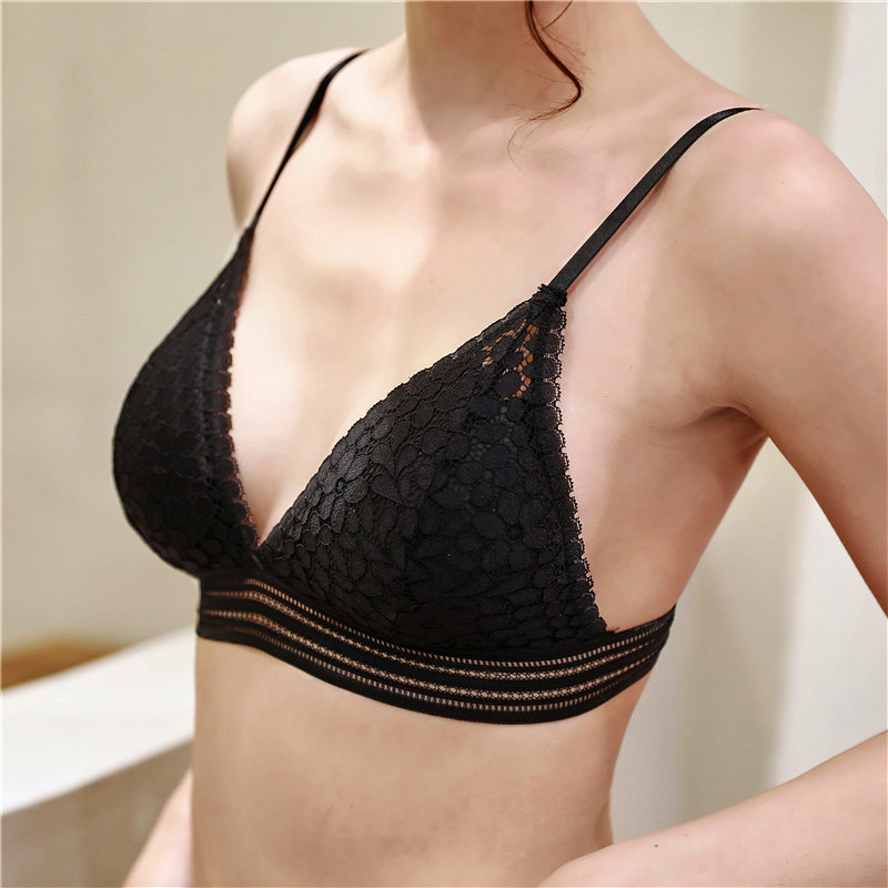New Arrival Lace Bralette French Style Female Deep V Lace Bras Wireless Bra Thin Underwear Sexy Lingerie Soft Bras For Women